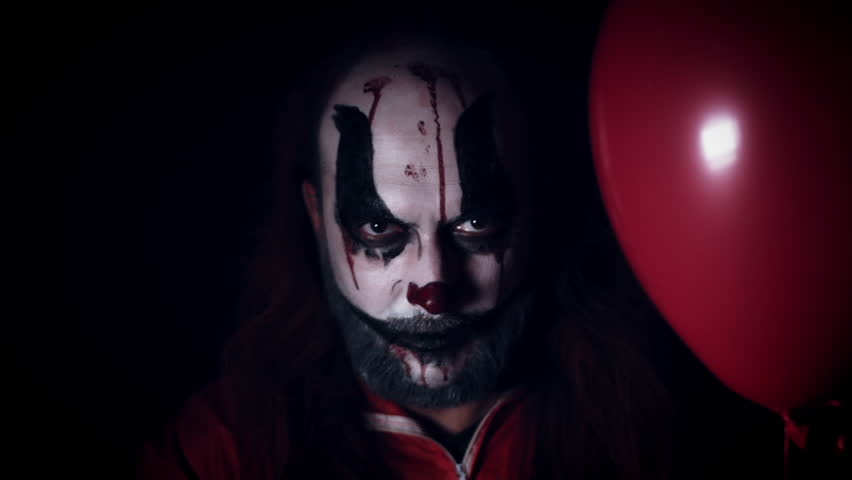 4k Halloween Horror Clown Man with Balloon