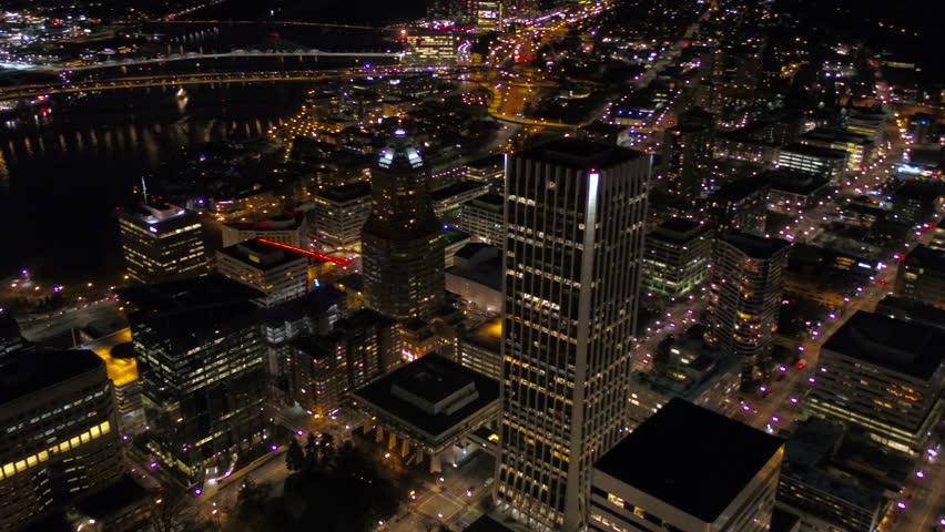 Aerial Oregon Portland Nigh | Shutterstock HD Video #26553827