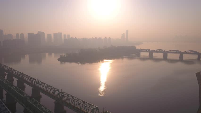 Aerial Korea Seoul April 2017 Yeouido Hazy Sunny Day
