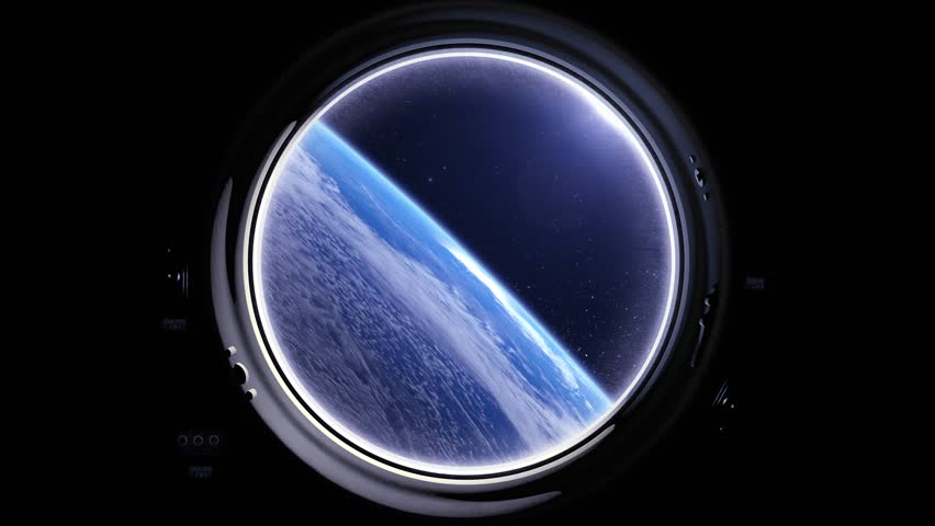 A view of the Earth from through the porthole of a spaceship. International space station is orbiting the Earth. Space, earth, orbit, ISS.