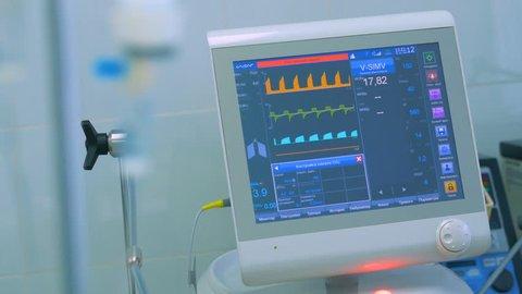 ECG monitor, medical equipment at a ICU in a modern hospital.