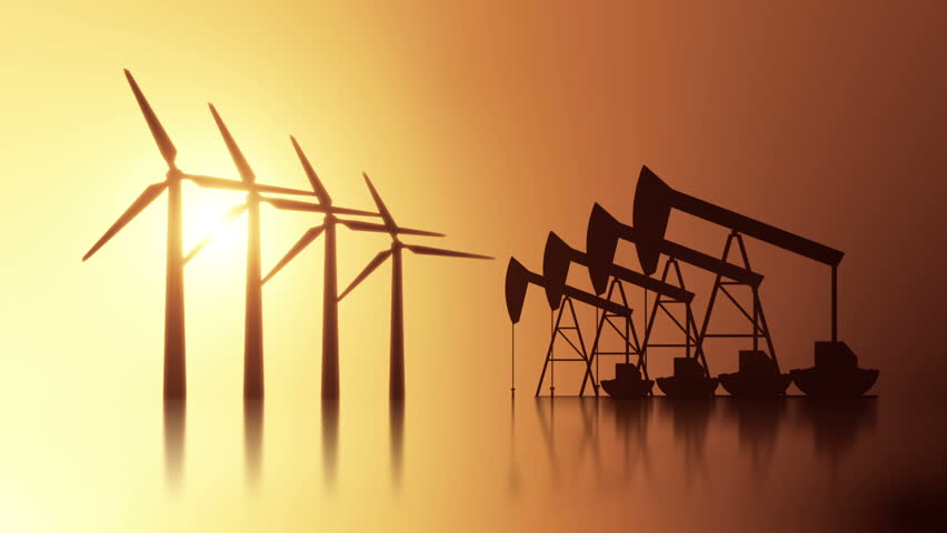 Oil pump and Windmill energy animation Stock footage. Am animation of Oil pumps and Windmills side by side depicting clean and dirty energy resources