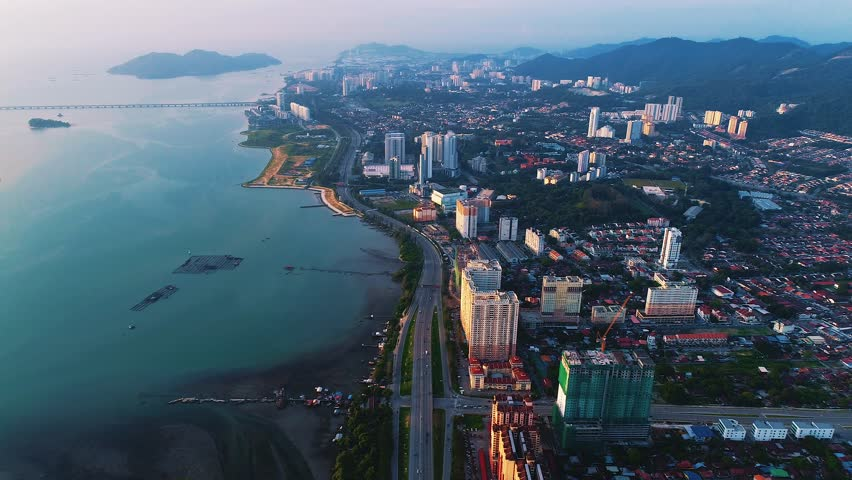 GEORGETOWN - DEC 2016 : Aerial View of Penang Sunrise, Georgetown, Penang, Malaysia