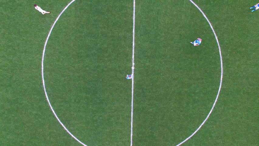 Aerial football match start