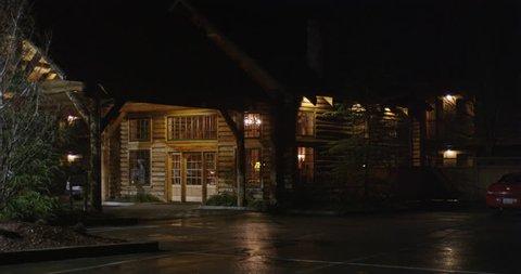 Motel lodge entrance at night in Grants Pass Oregon
