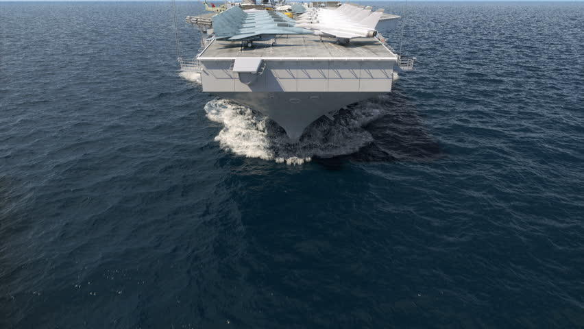 Aircraft carrier crossing the ocean