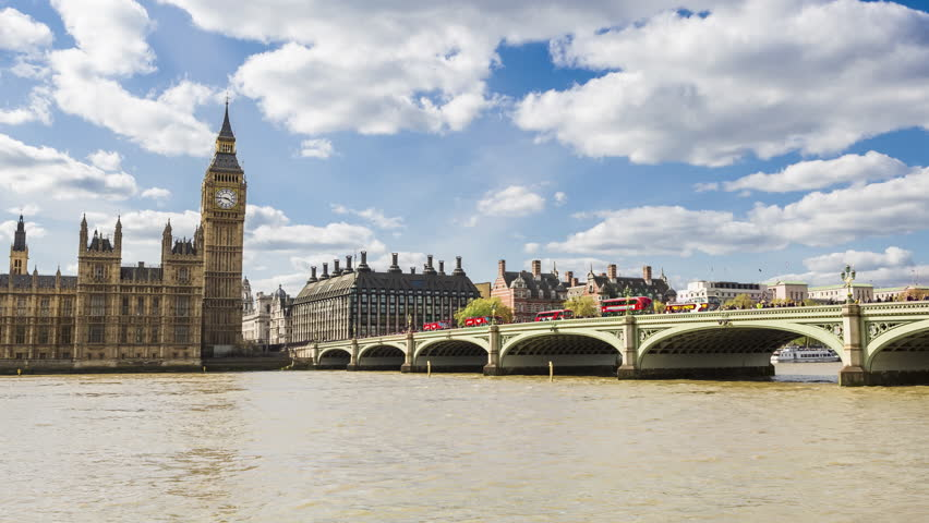 Big Ben, Elizabeth Tower, palace of Westminster, England's government, Thames, London, UK, Time-lapse - Zoom Out | Shutterstock HD Video #26606954