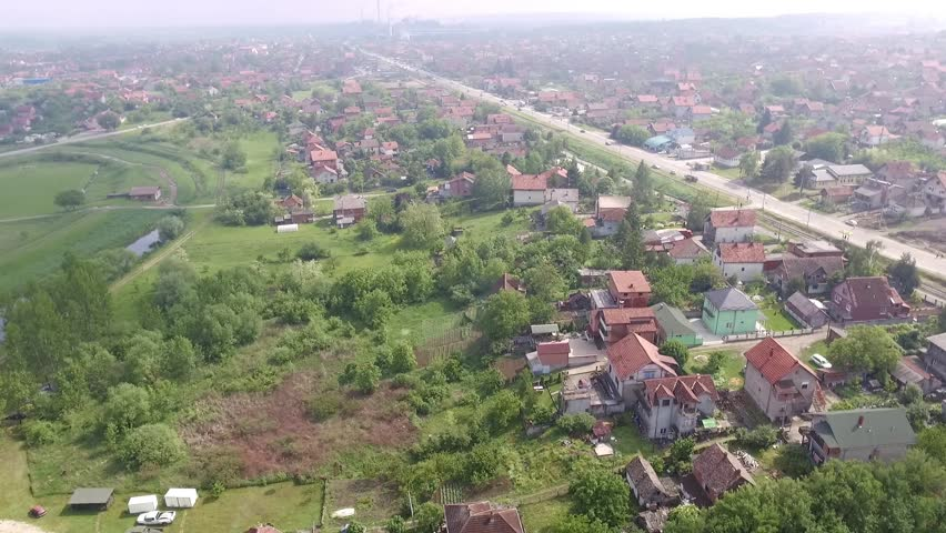 Aerial view from low-flying airplane of suburban  #26608637