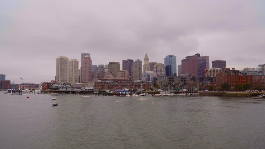 The skyline of Boston at harbor side