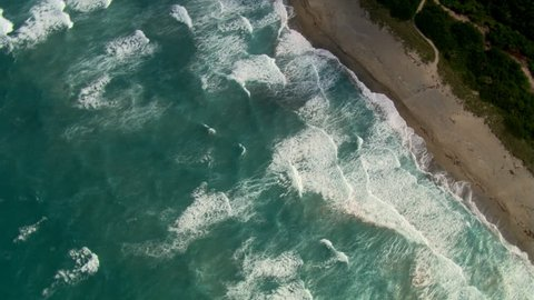 Orbiting waves and beachline of South Palm Beach, Florida. Shot in 2007.