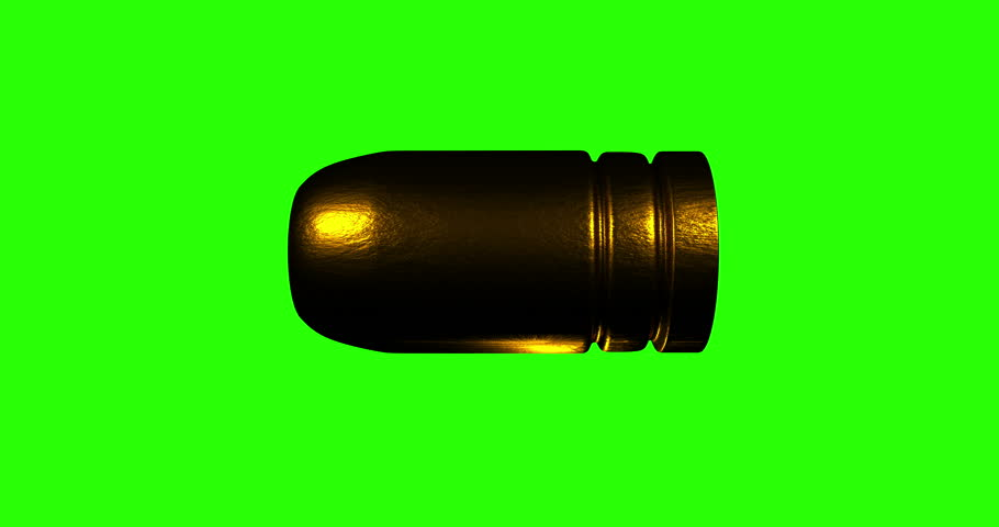 Green screen loopable 9mm bullet flying with matte included