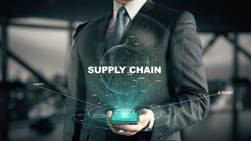 Businessman with Supply Chain hologram concept Royalty-Free Stock Footage #26638735