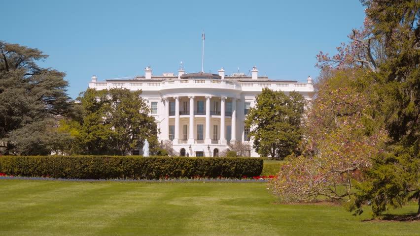 Oval Office and Presidents garden at The White House of Washington DC - WASHINGTON DC / COLUMBIA - APRIL 8, 2017