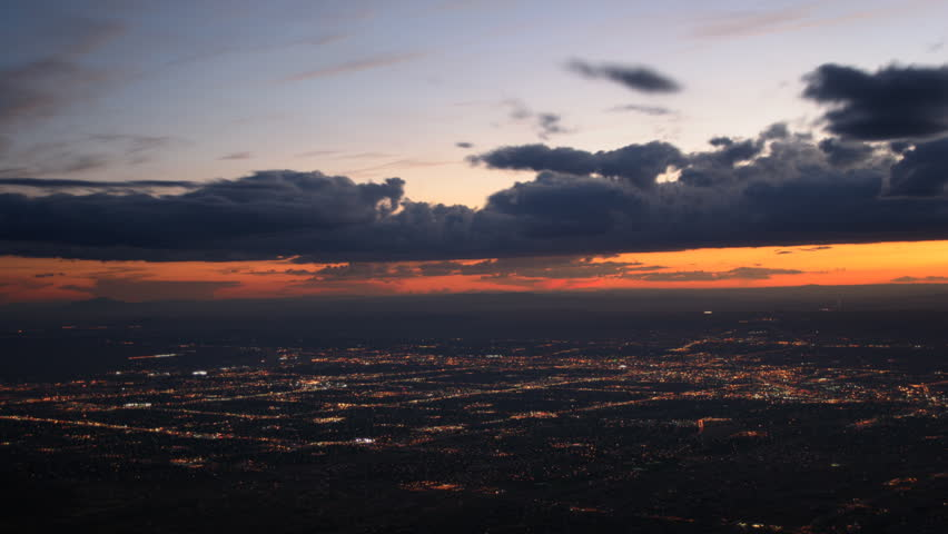 Time-lapse sunset to dark over Albuquerque, New Mexico