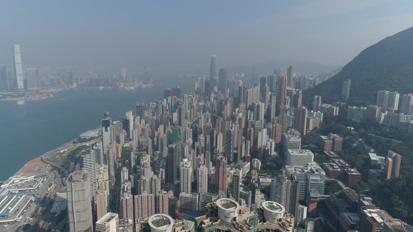 Sunny day hong kong city jungle bay kowloon aerial panorama 4k china   Shutterstock HD Video #26661613