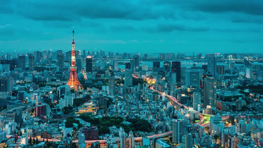 Timelapse view of Tokyo skyline and showing the hanabi (firework festival) from day till night. | Shutterstock HD Video #2666624