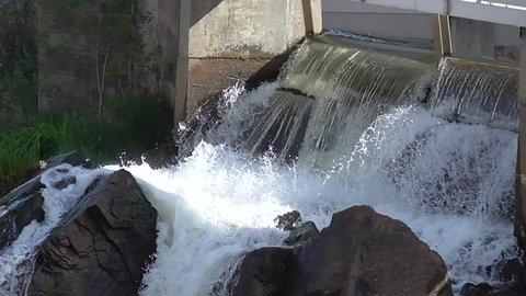 water running through dam wicket