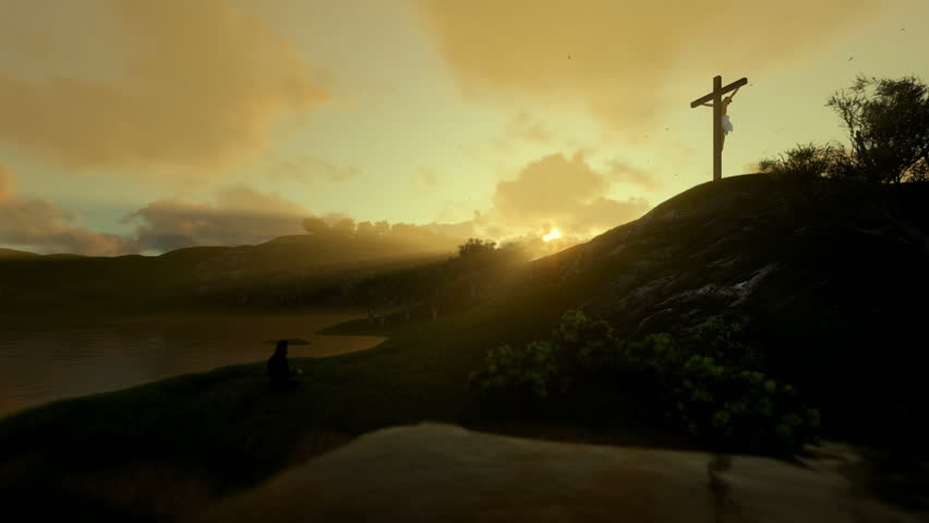 Woman praying at Jesus cross against beautiful morning sun rays #26675467