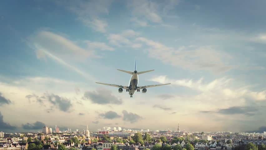 Airplane Landing Amsterdam Netherland