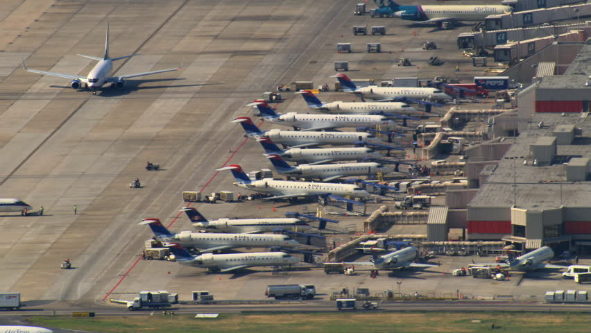 Aerial view of jets parked at Hartsfield-Jackson Atlanta International Airport. Shot in 2007.