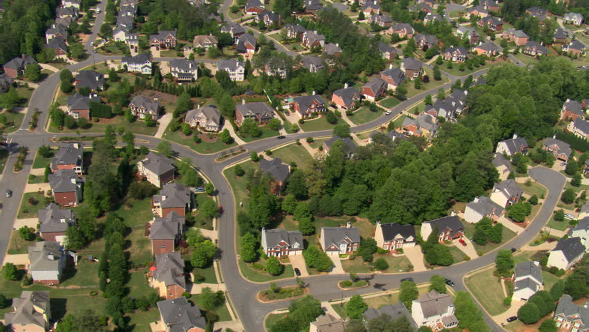 High flight over suburban neighborhood in Atlanta, Georgia. Shot in 2007.