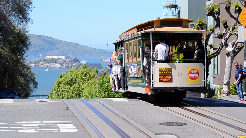 SAN FRANCISCO - APR 30: Cable car on April 30, 2017 in San Francisco, California, USA. The 1st successful cable-operated street railway was the Clay Str. Hill Railroad opened on August 2,1873.