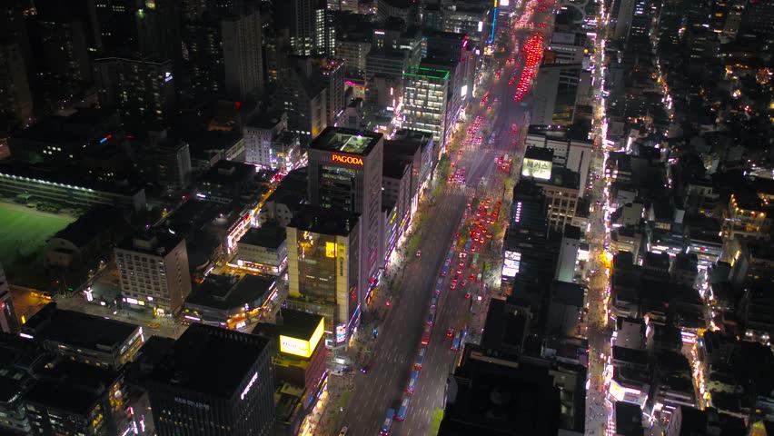 Aerial Korea Seoul April 2017 Gangnam Night | Shutterstock HD Video #26698225