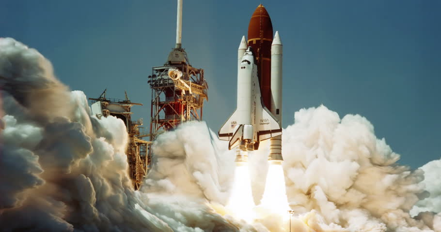 Space Shuttle Challenger Launch Animation, 4K some elements furnished by NASA images