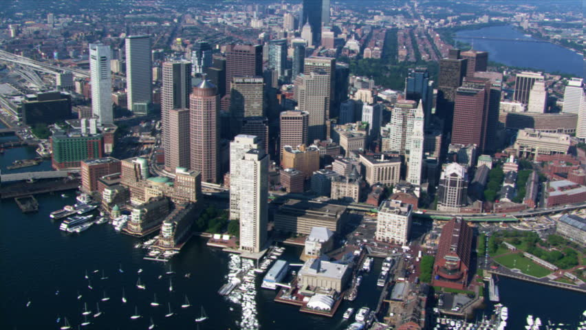 Flight over Boston Harbor with cityscape view. Shot in 2003. | Shutterstock HD Video #26704402
