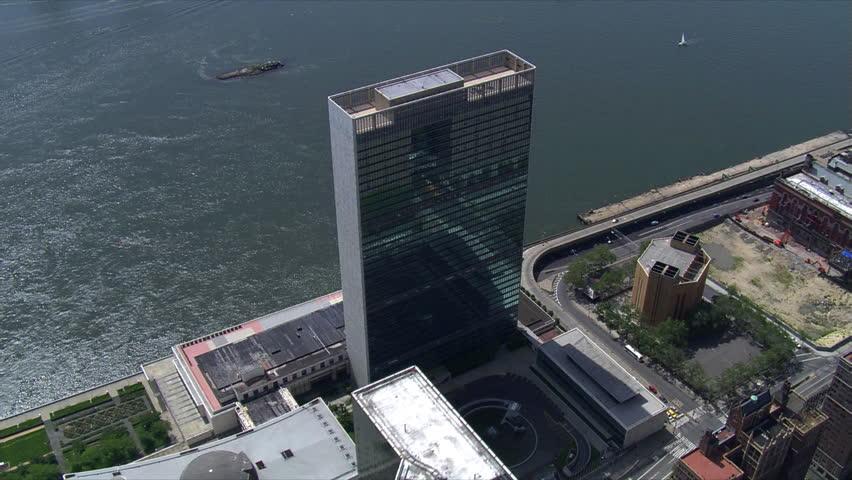Partial orbit of UN Building, looking toward East River. Shot in 2006.