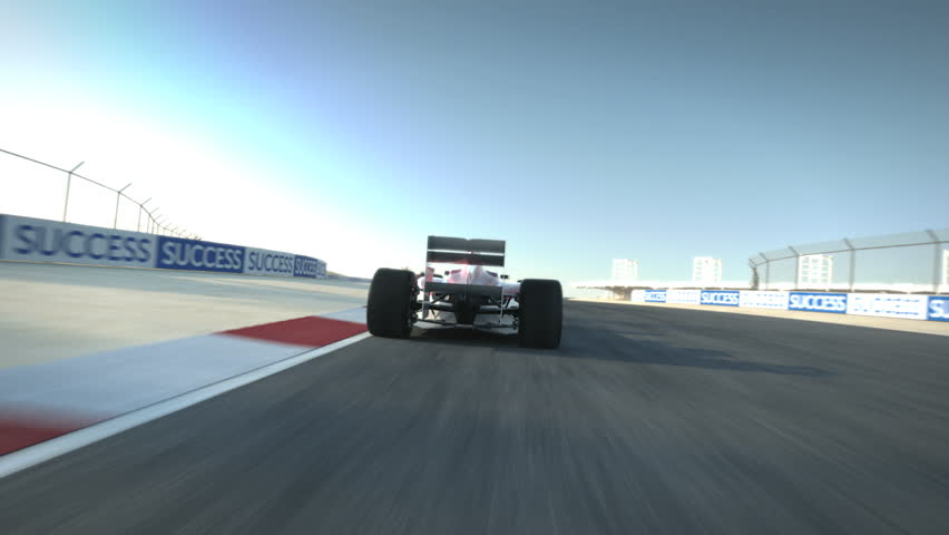 Driving behind Formula One race car on desert circuit - high quality 3d animation - visit our portfolio for more | Shutterstock HD Video #2671694