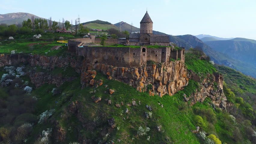 Tatev monastery in Armenia. Aerial view in morning lights