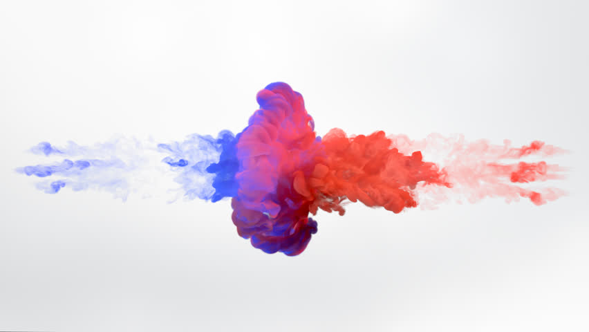 Color paint drops in water in slow motion. Ink swirling underwater. Cloud of silky ink collision isolated on white background. Colorful abstract smoke explosion animation. Close up camera view.
