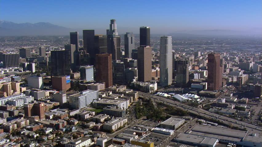 Wide orbit of downtown Los Angeles. Shot in 2008.   Shutterstock HD Video #26735170