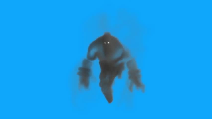 Monster Smokeman Boogeyman Attack Blue Screen 3D Rendering Animation