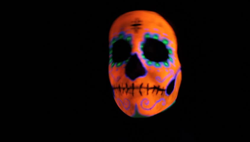 Mexican skull funny dance , black background easy to blend by lighten or screen mode