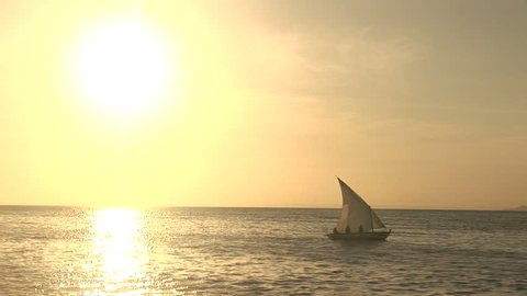 Sailboat in the sunset in Salvador, Bahia, Brazil