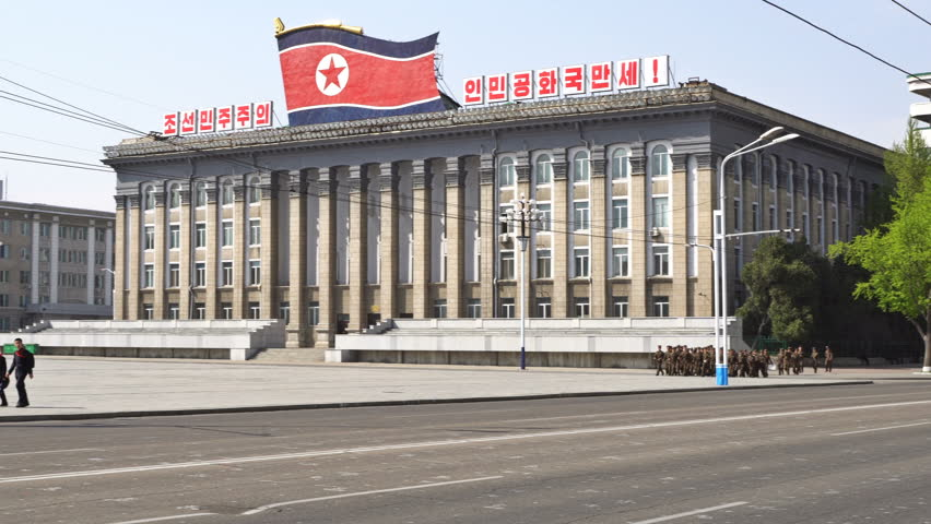 Pyongyang / DPRK - North Korea - April 30 2017: Panoramic view of Kim Il-sung Square and the National Library. UHD - 4K   Shutterstock HD Video #26786800