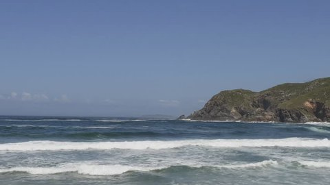 Beautiful bay and ocean in Galicia Spain. Time lapse