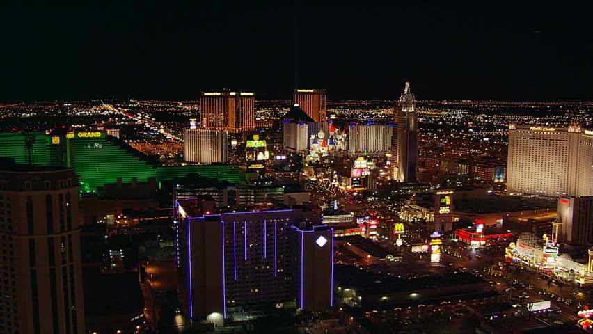 Diagonal flight across The Strip toward Excalibur in Las Vegas. Shot in 2005.