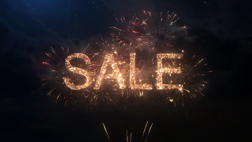 SALE greeting text with particles and sparks on black night sky with colored slow motion fireworks on background, beautiful typography magic design. | Shutterstock HD Video #26842237