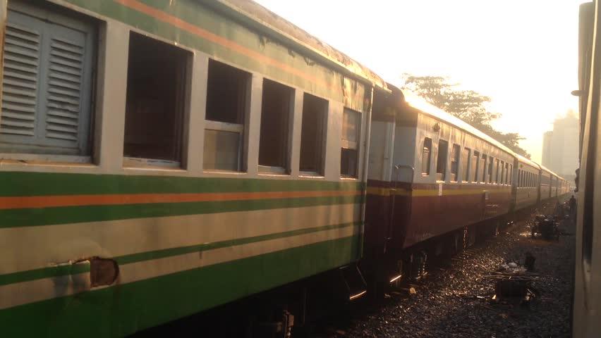 BANGKOK, THAILAND - MAY 1, 2017: At Thonburi Train Station, Train Thonburi(Bangkok)-Namtok(Kanchanaburi) is leaving the station,Bangkok Thailand.   Shutterstock HD Video #26846539