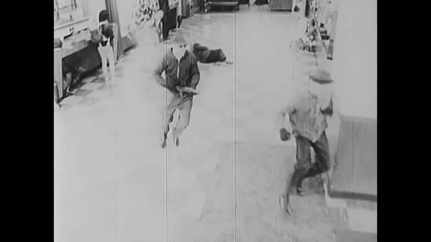 1960s: FBI bank surveillance footage of armed robbers robbing banks in 1968.