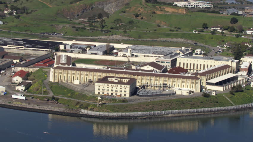 Zoom-out on San Quentin Prison, California. Shot in 2010.