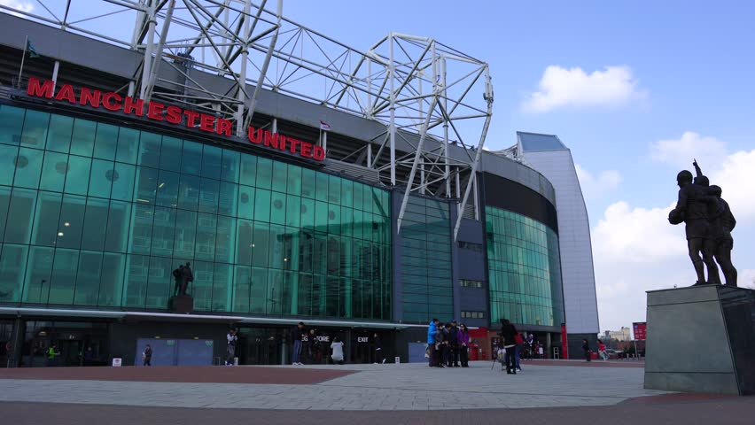 Manchester, UK - MAY 17, 2017:The east stand of Old Trafford football stadium home of Manchester united football club, Old Trafford is the second largest stadium of any English football ground.