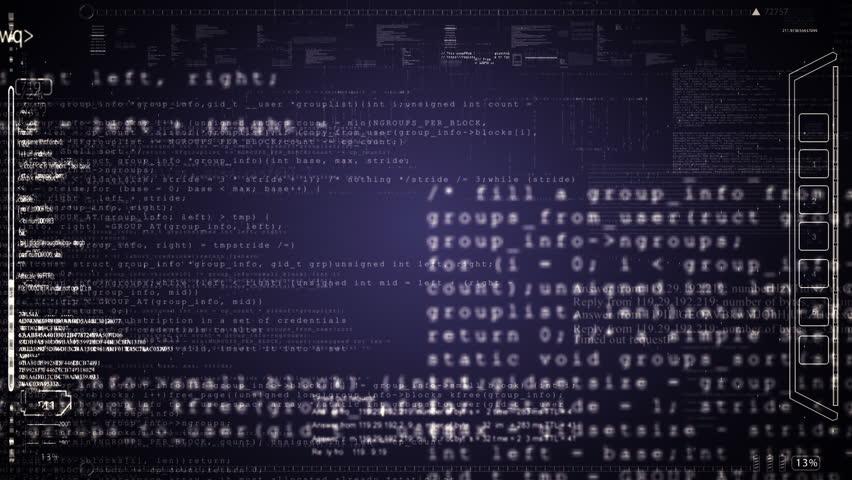 HUD computer data screens animation.Green.Camera move fast through running computer program code.Type2   Shutterstock HD Video #26891113