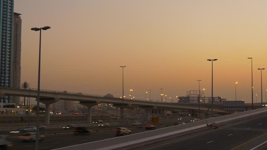 Dubai marina city famous sunset sky traffic road junction panorama 4k uae | Shutterstock HD Video #26895604