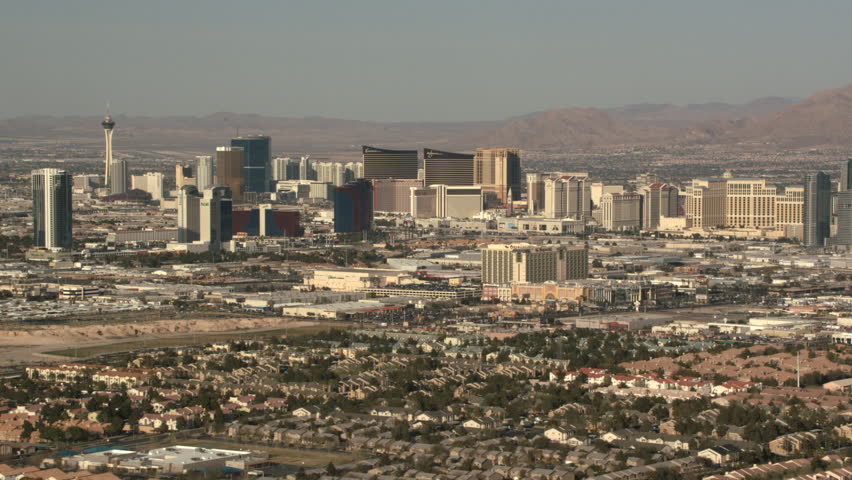 Over residential area, looking toward casinos in Las Vegas, Nevada