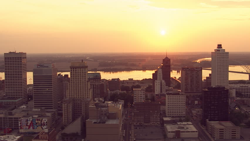 Flying over Memphis, Tennessee. looking across the Mississippi toward West Memphis, Arkansas, at sunset | Shutterstock HD Video #26901340