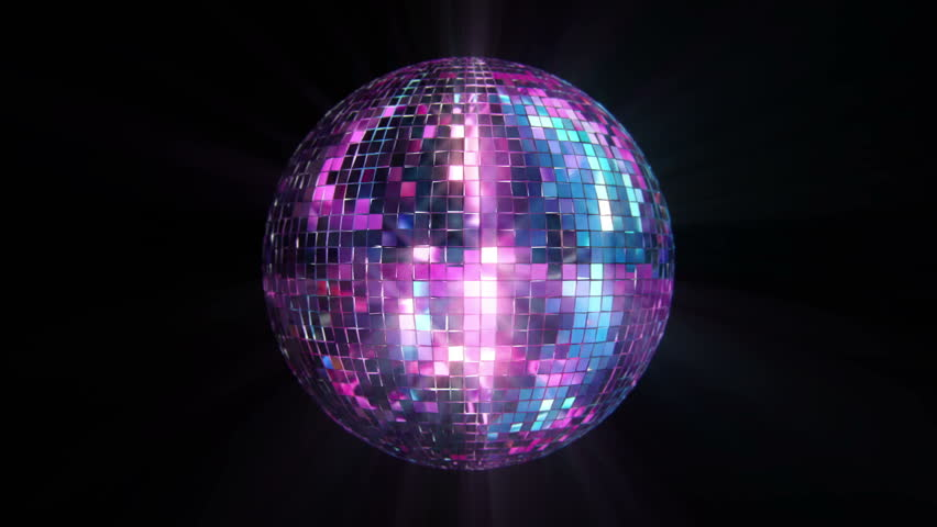 3D Disco Mirror Ball Reflecting Colorful Lights and Lasers . Seamless Loop   #2691185